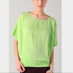 Diane Von Furstenberg Landy silk green blouse